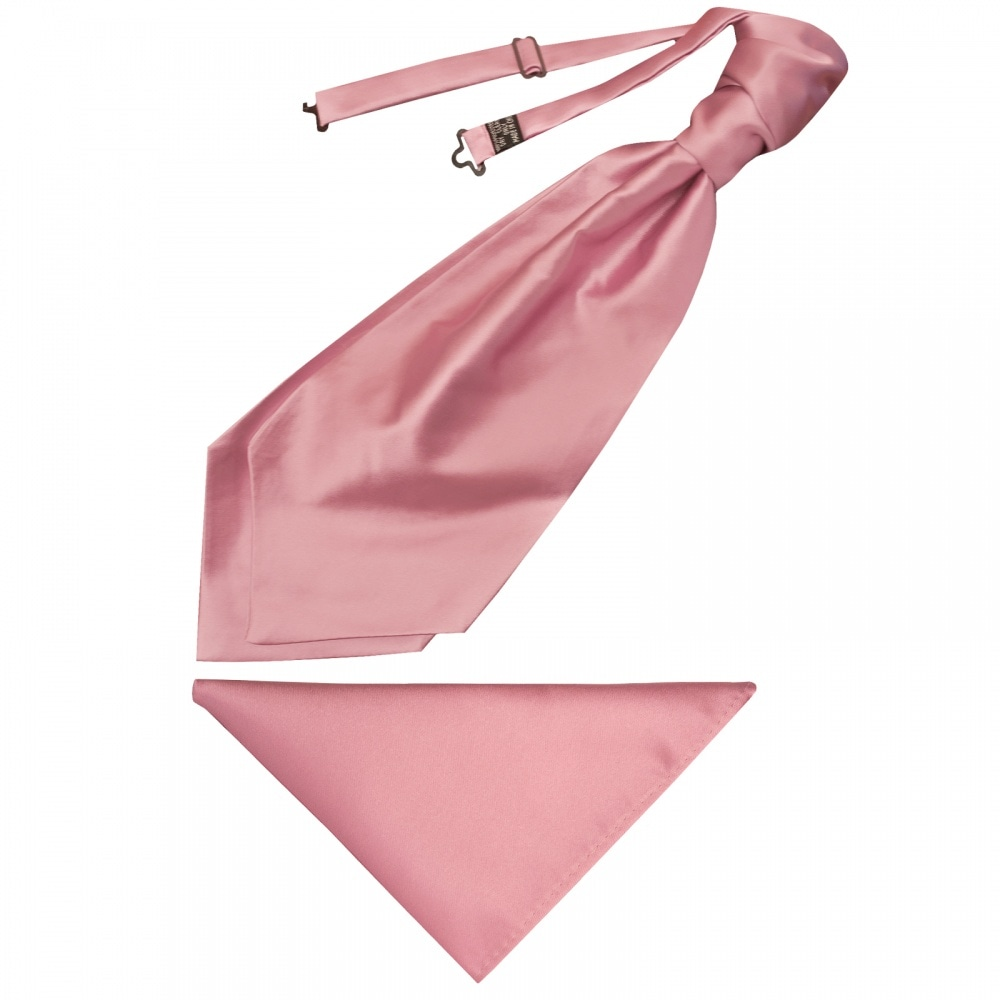 79bdfd3a885a Plain Dusty Pink Satin Mens Cravat Tie and Pocket Square Set