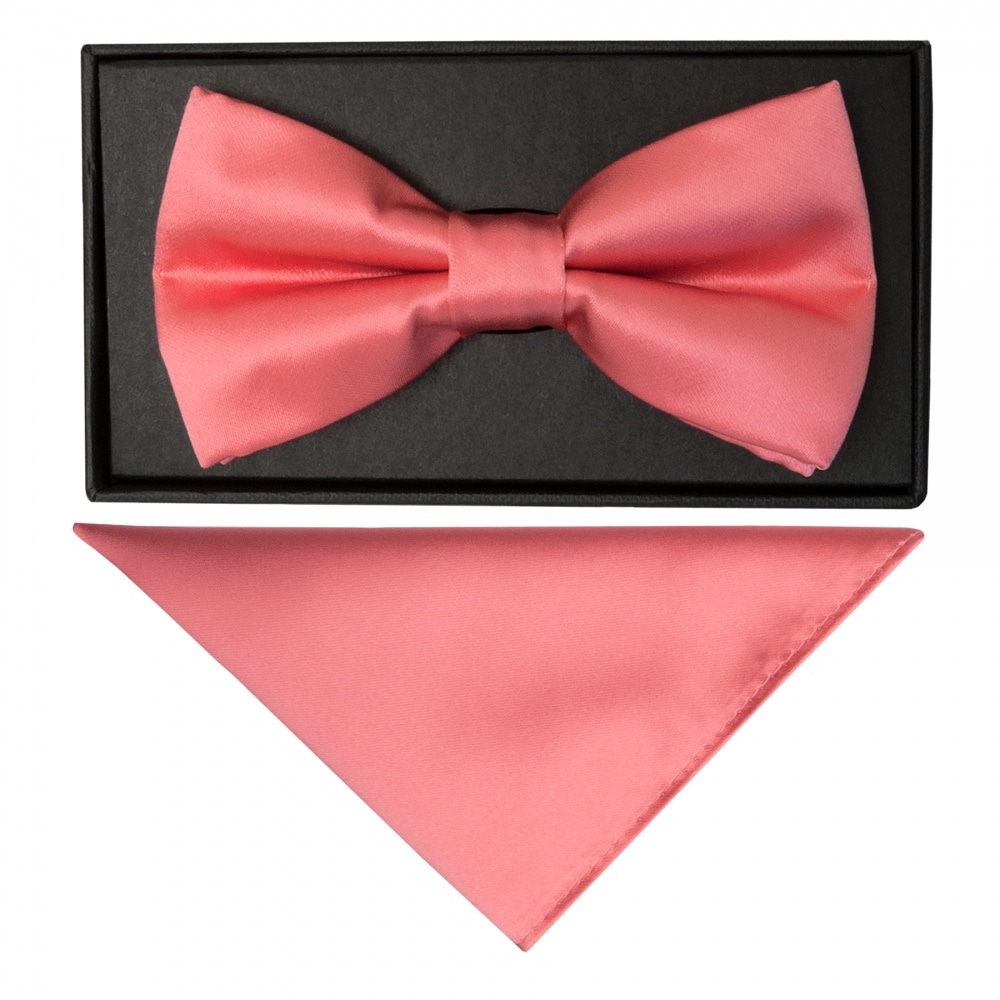 Plain Blush Pink Satin Silk Mens Bow Tie Pre Tied Dickie Bow Wedding Bow tie