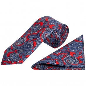 fd62daebf26e1 Red with Blue Paisley Classic Men's Slik Tie and Pocket Square Set