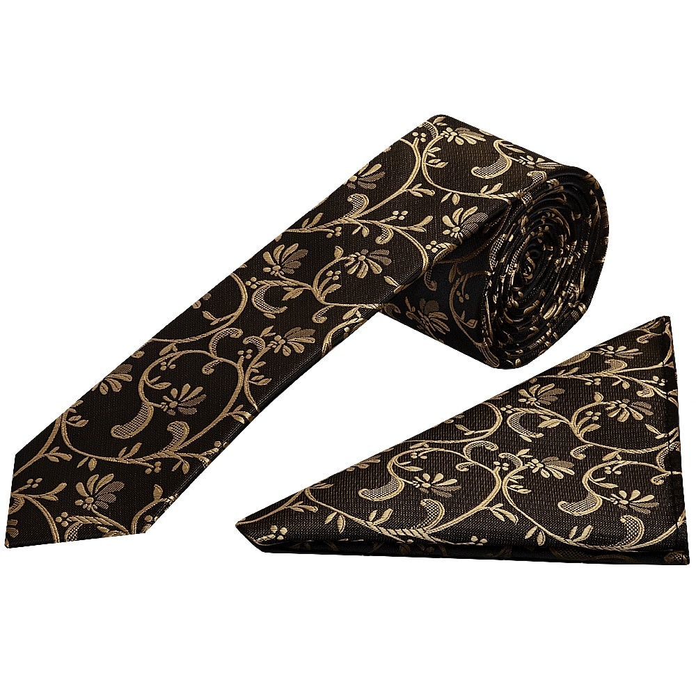 TIES R US Black with Gold Floral Skinny Men/'s Tie and Pocket Square Set