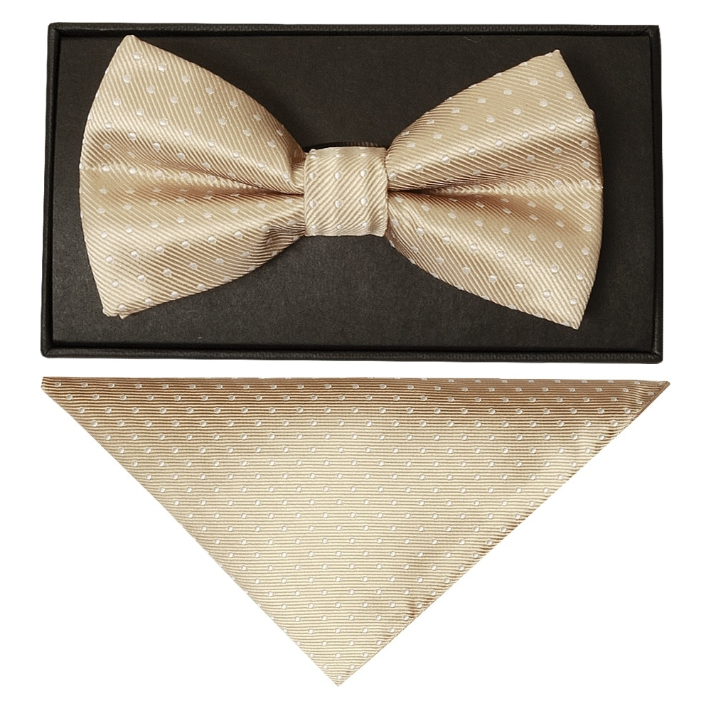 Gold bling crocheted choker with paper white gold polka dots bow tie