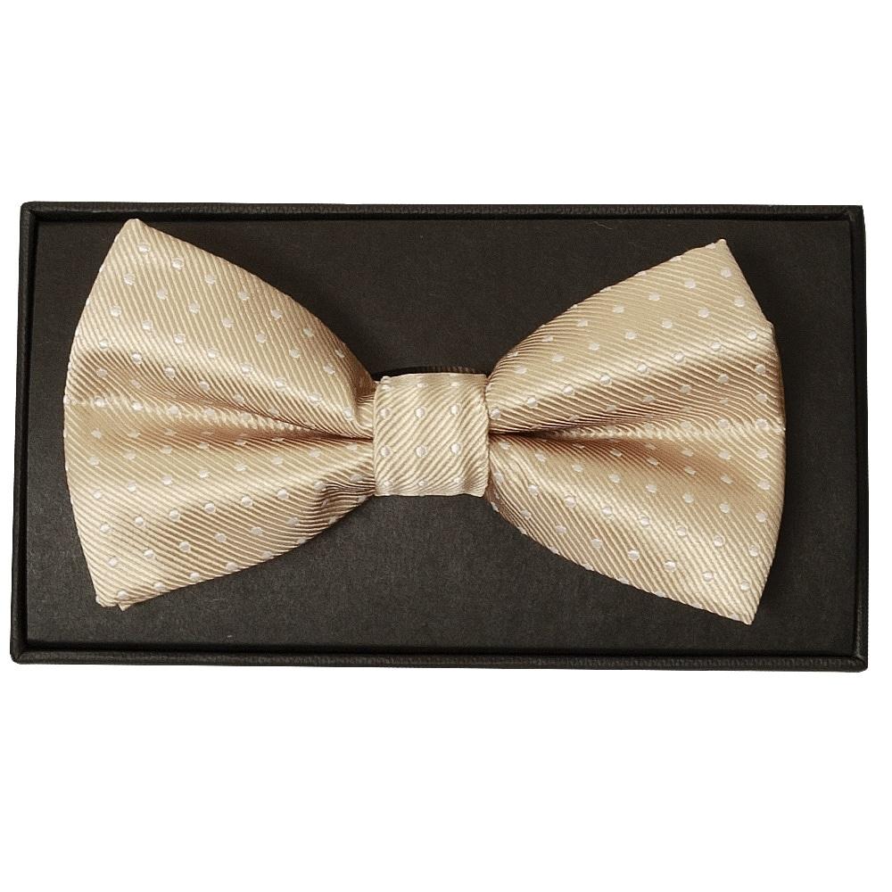 Champagne   Polka Dot   Men's   Bow Tie and Pocket Square Set