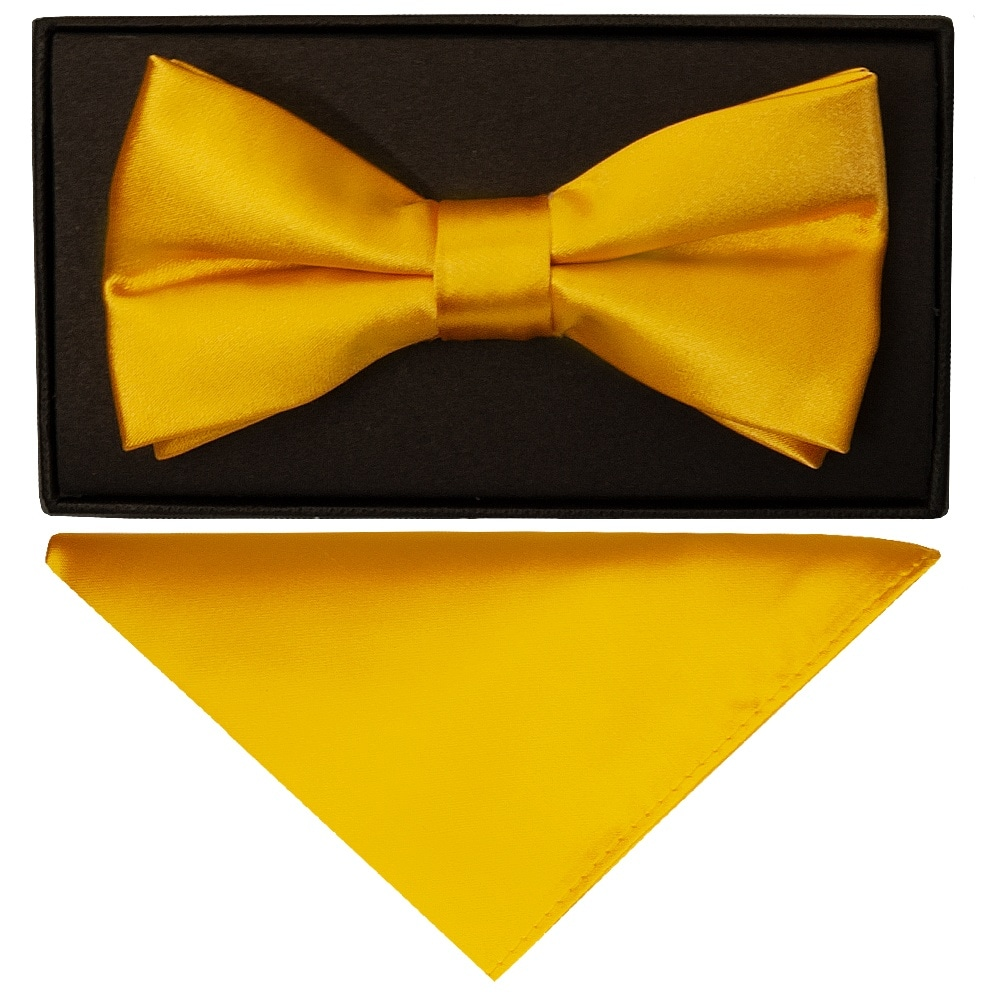 Plain   Bright Yellow   Men's   Bow Tie and Pocket Square Set