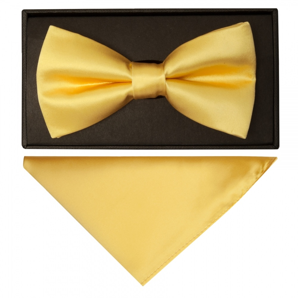 TiesRus Bright yellow Satin Boys Tie and Handkerchief Set