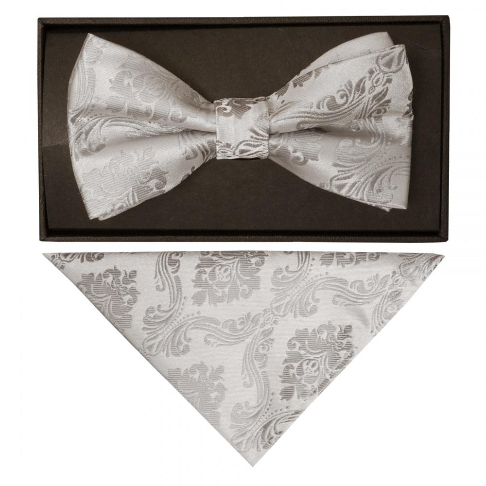 TIES R US Silver Paisley Skinny Boys Tie and Pocket Square Set