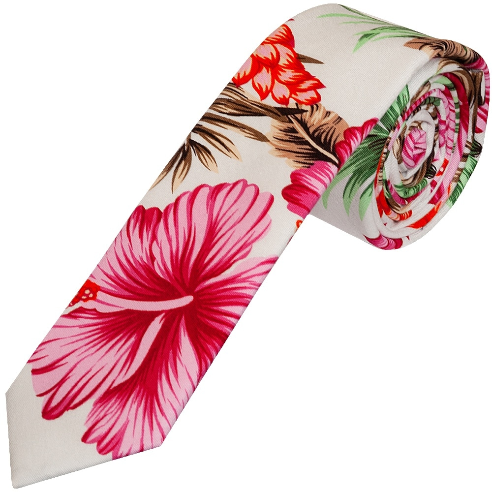 a48fabfe1fb3 Penguin White and Pink Floral Skinny Men's Tie